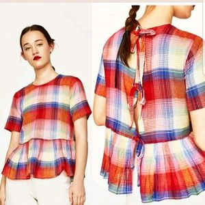 ZARA plaid peplum open back tie top